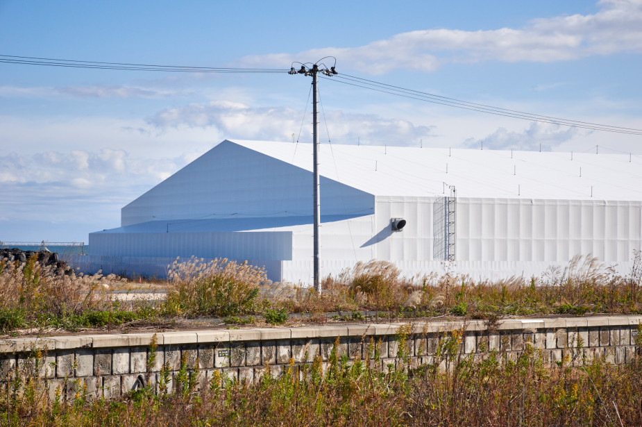 Temporary factory to perform the volume reduction processing of contaminated topsoil on site at the coast of Tomioka
